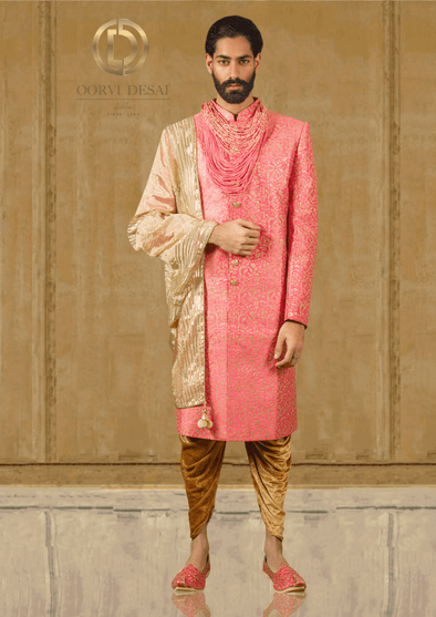Pastel Pink Sherwani with Gold Dhoti and Dupatta