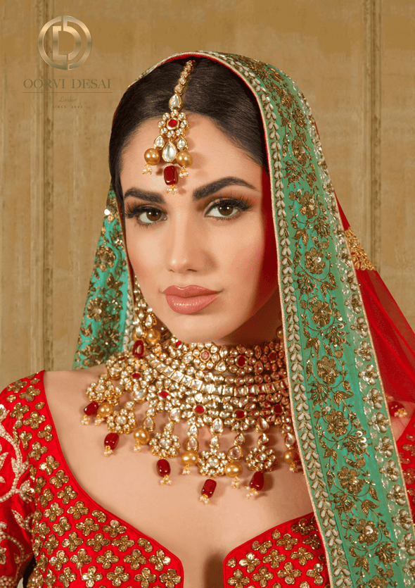 'Yami', Red Stone and Golden Pearl Kundan Bridal Half Set by Oorvi Desai