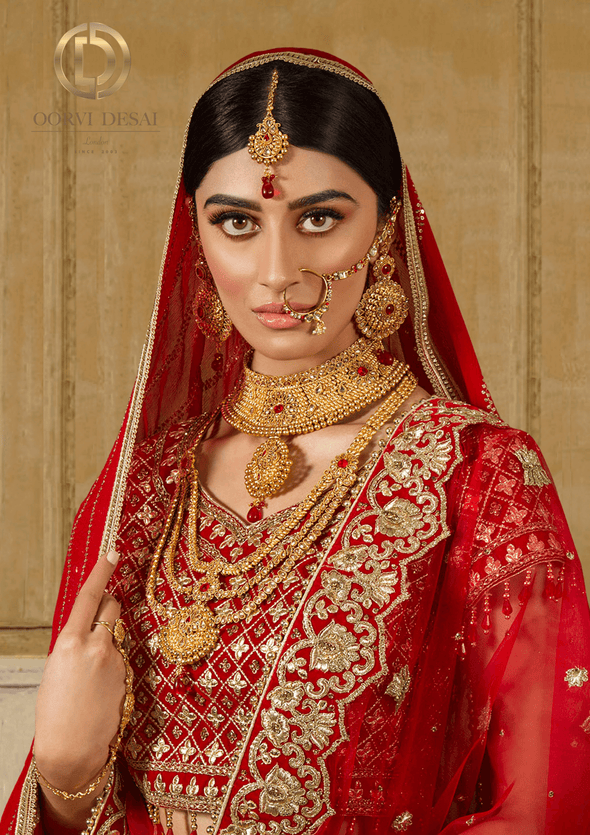 'Saache', Traditional Gold with Red Stones Bridal Full Jewellery Set b