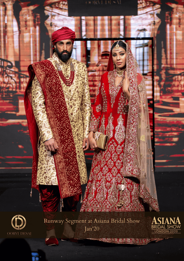 Traditional Cream Raw Silk Sherwani with intricate Gold & Red Embroidery at Oorvi Desai London