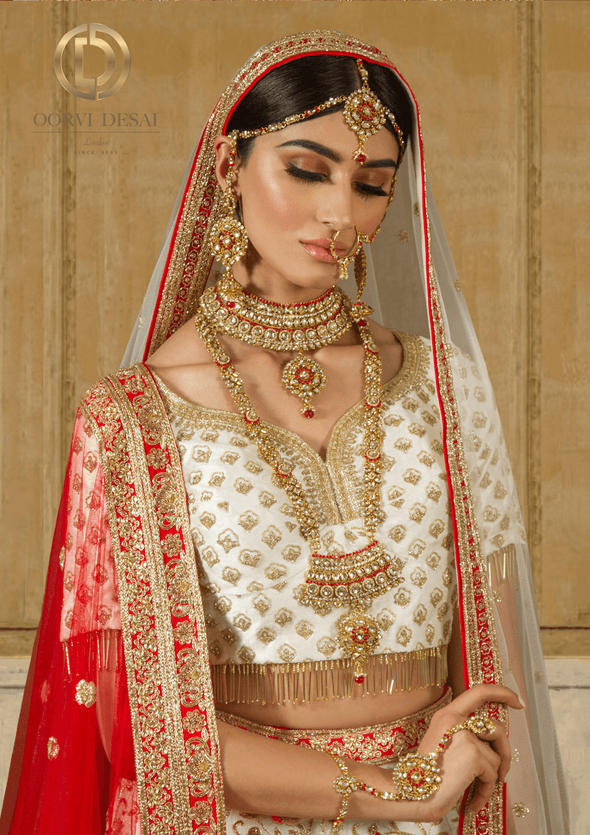 'Tara', Red & Gold Antique Bridal Jewellery Full Set by Oorvi Desai
