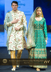 Green Golden Embroidered Anarkali Set with Net Dupatta