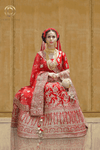 Bright Red Floral Embroidered Velvet Bridal Lehenga with Net Dupatta