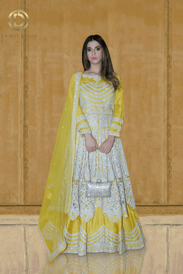 Bright Yellow with Diamante Sangeet Party Lehenga Set with Long Top