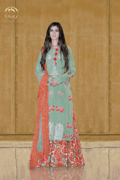 Dusky green and Red Reshamwork Kurti with Printed Lehenga Set by Oorvi Desai