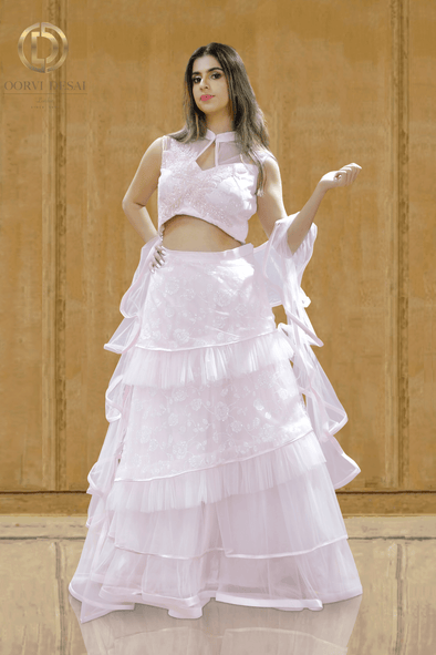 Pink Ruffled Net Party Crop Top Set with Satin Edged Borders and Dupatta Set