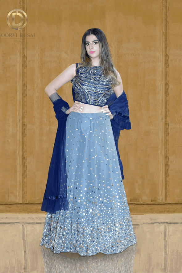 Persian Blue and Grey Mirror and Resham Work Party Crop Top Set