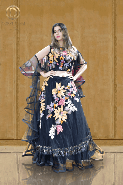 Black Ruffled Net Party Crop Top Set with Shimmer Multi-coloured Floral Handwork