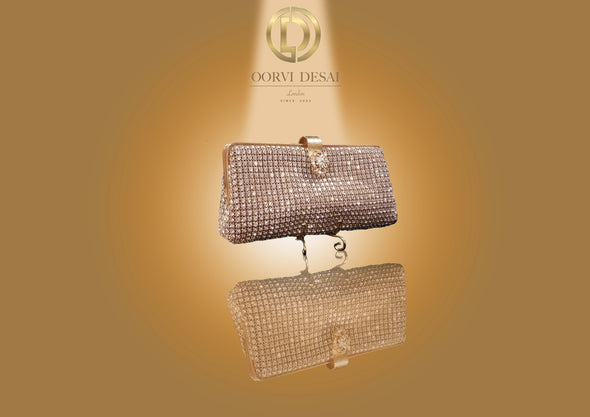 iamante Studded Classic Clutch with Diamond Clasp