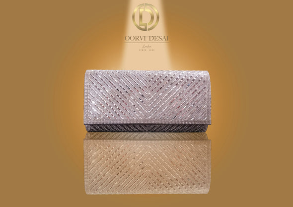 'Diamond Studded Chevron Clutch by Oorvi Desai' (OD - B 47 Black/ Gold/ Silver)