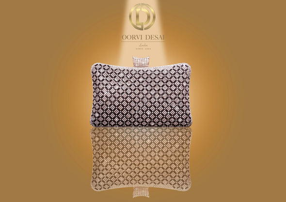 'Lustrous Diamante Clutch' by Oorvi Desai (OD - B 43 Red/ Gold/ Silver/ Black/ Blue)
