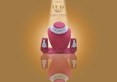 'Jahaan', Round Diamante With Light Pink Stone Drops by Oorvi Desai