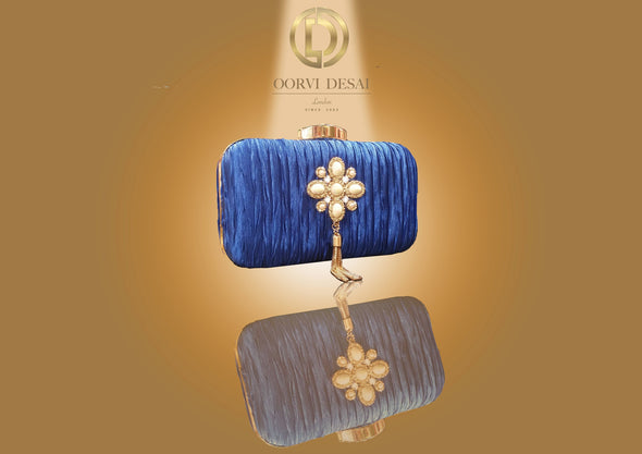 'Pearl Brooch and Golden Tassels Clutch' by Oorvi Desai (OD - B 41 Blue/ Black/ Blush/Red)