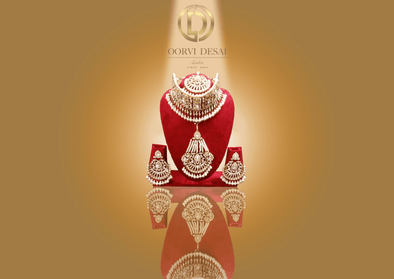 'Alizeh', Centre Diamond Set With Pearl And Red Beads by Oorvi Desai