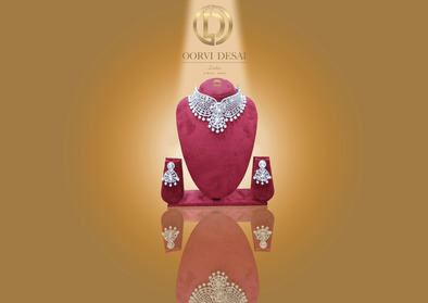 'Nazia', Silver Diamante With White Pearls by Oorvi Desai