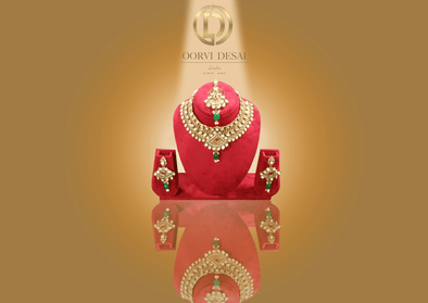 'Naina', Golden Kundan with Green Drop by Oorvi Desai