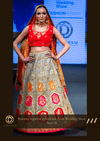 Grey and Bright Red Traditional Silk Party Crop Top Set with Orange Dupatta and Patchwork at Oorvi Desai London