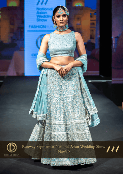 Pastel Electric Blue Reception Wedding Party Lehenga with Net Dupatta at Oorvi Desai London