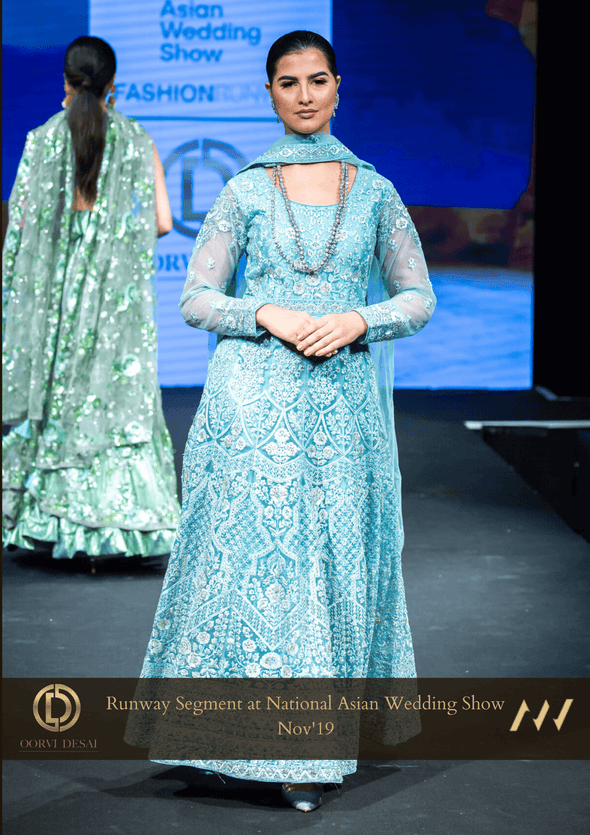 Pastel Grey Anarkali Set with Stonework