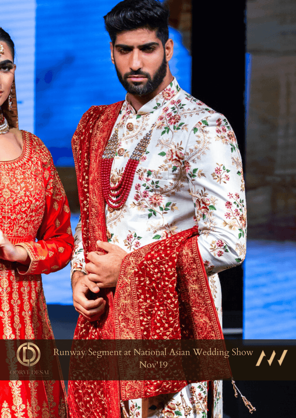 Off-white Raw Silk Sherwani with Embroidered Floral Motifs at Oorvi Desai London