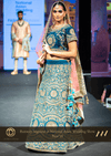 Teal green  & Gold Traditional Wedding Bridal Lehenga with contrast Peach Dupatta