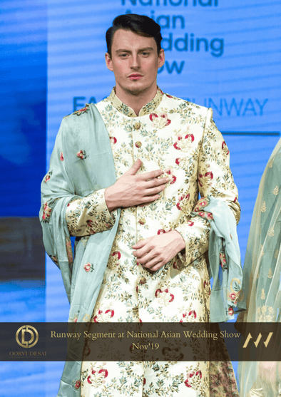 Cream & Gold Raw Silk Sherwani with Green Silk Dupatta at Oorvi Desai London