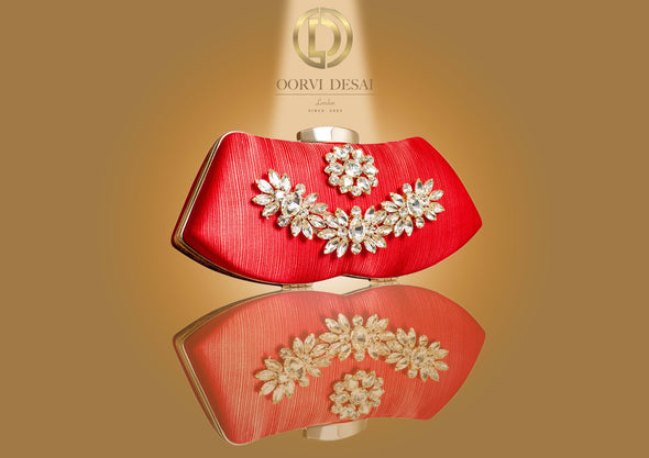 'Shimmering Candy  Purse with Golden Adornments' by Oorvi Desai (OD - B 33 - Red/ White/ Green/ Gold)