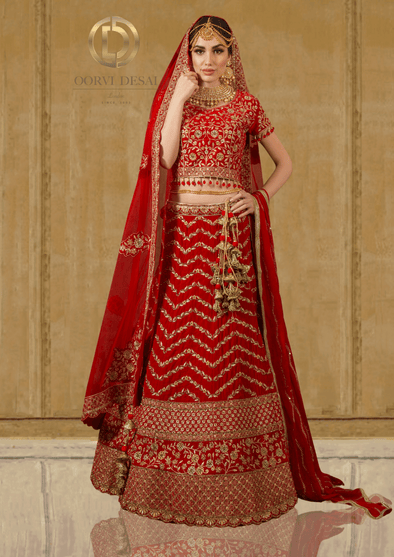 Traditional  Bright Red Bridal Red Chevron Lehenga with Antique Embroidery