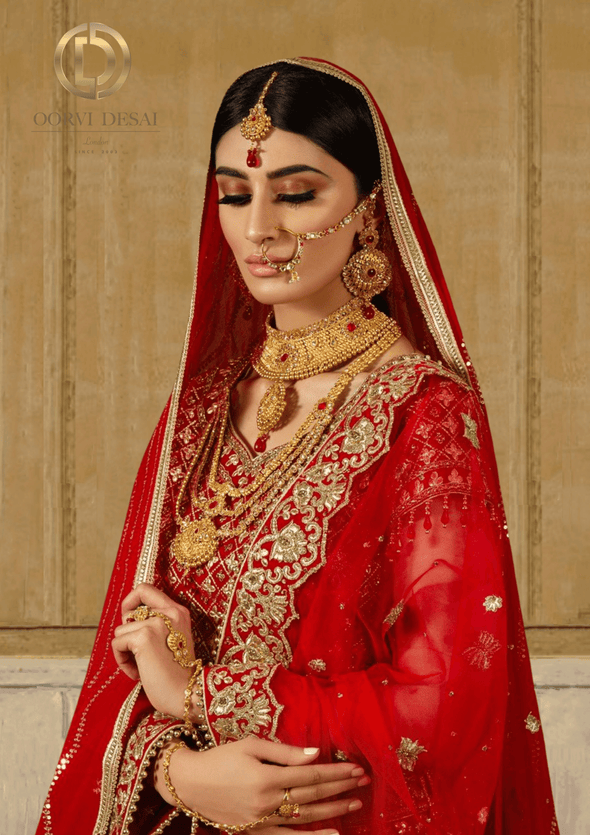 'Saache', Traditional Gold with Red Stones Bridal Full Jewellery Set by Oorvi Desai