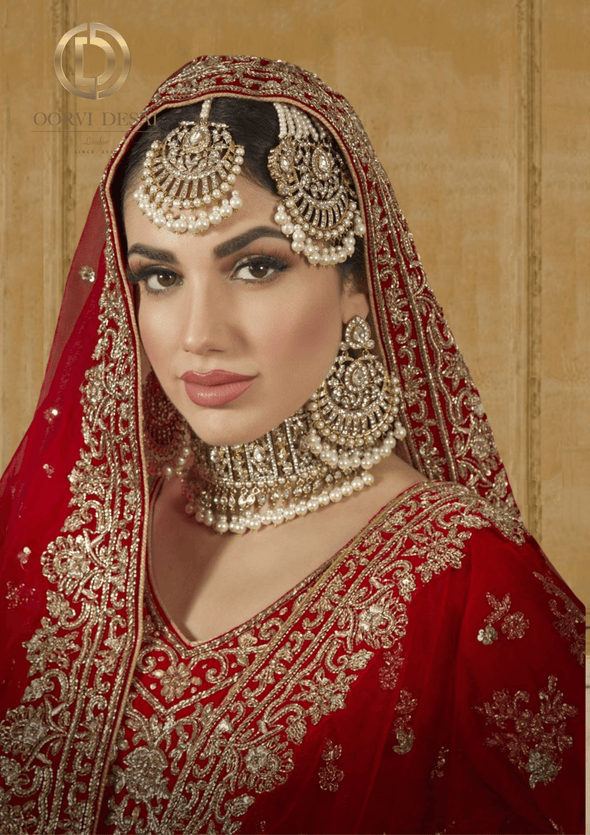 'Zaina', Pearl and Golden Bridal Jewellery Half Set by Oorvi Desai