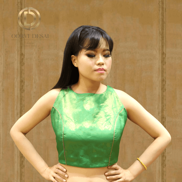 Shimmer Green Boat Neck Sleeveless Crop Top