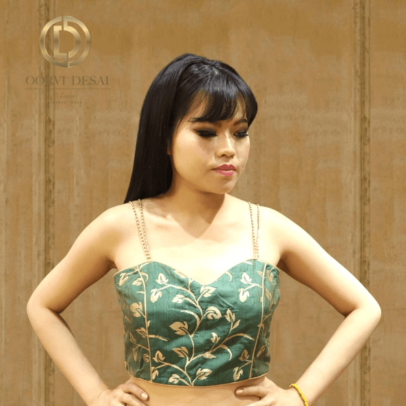Banarsi Golden and Green Strapped Cami Crop Top