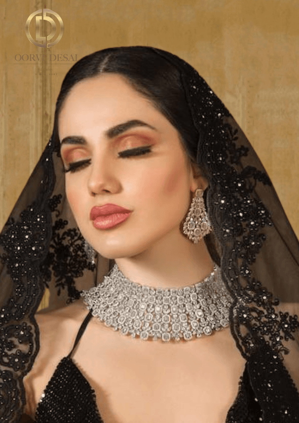 'Isha', Diamond Rect Baguette Bridal Half Set by Oorvi Desai