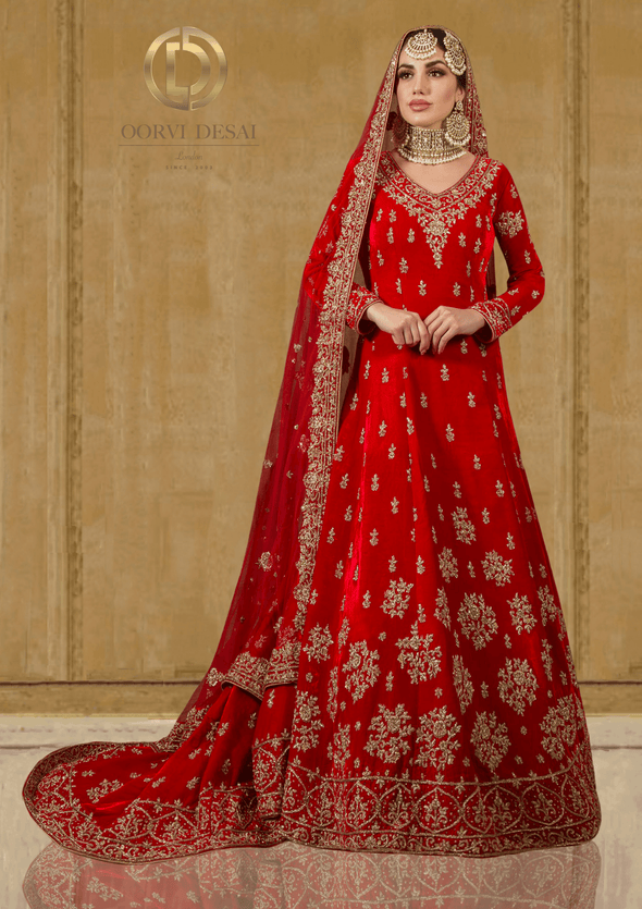 Red Velvet Wedding Bridal Trail with Red Dupatta