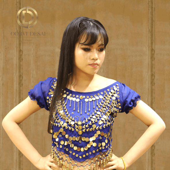 Blue Short Balloon Sleeved Crop Top with Gold Ornaments