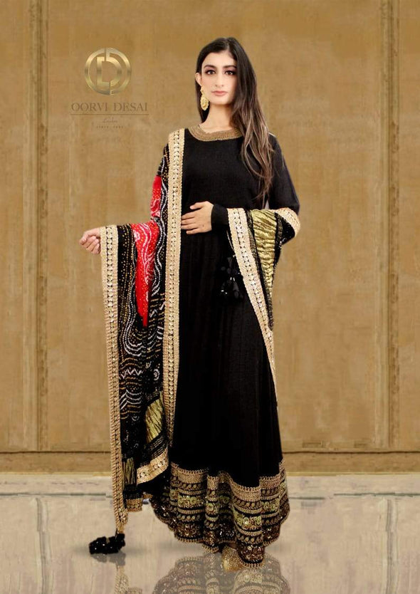 Black floor length Anarkali Set with Bandhani Dupatta