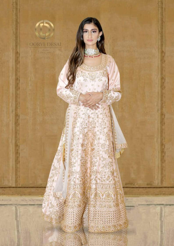 Pastel Pink  Reshamwork Anarkali Set with Dupatta