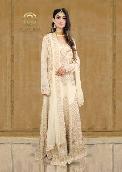 Beige Golden Goergette Anarkali Set with Dupatta