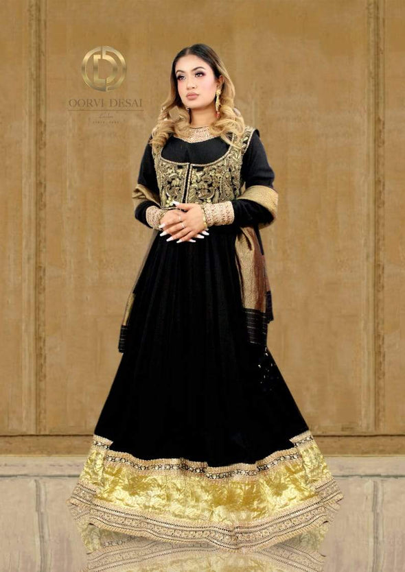 Black Floor length Anarkali Set with Dupatta