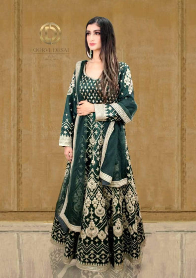 Bottle green Anarkali Set with Silver Reshamwork and Dupatta