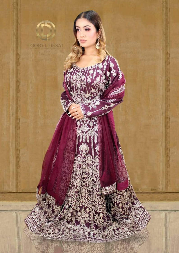 Wine colour Anarkali gown with silver threadwork and Dupatta set
