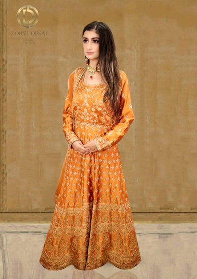 Burnt Orange Silk Anarkali Set with Reshamwork and Dupatta