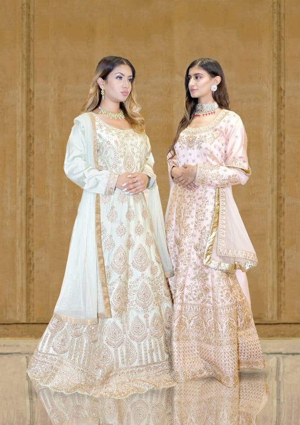 Pastel Blue and Golden Silk Anarkali Set with Reshamwork and Dupatta