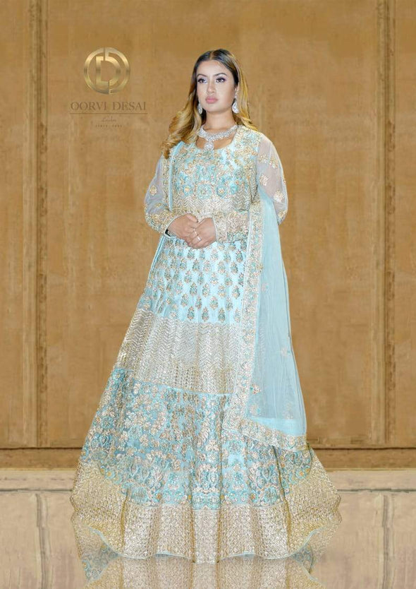 Pastel Blue Gold Anarkali Set with Applique work and Dupatta