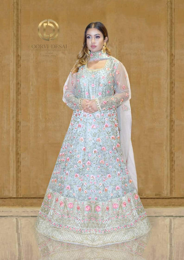 Light Grey Anarkali Set with Pink Reshamwork and Dupatta