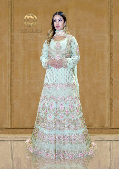 Pistachio and Pink Floral Anarkali Set with Resham Stonework