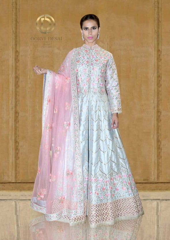 Pastel Blue and Peach Reshamwork Floor Length Jacket Lehenga Set by Oorvi Desai