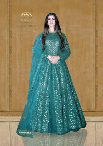 Dark Green Resham Embroidered Anarkali Set with Dupatta