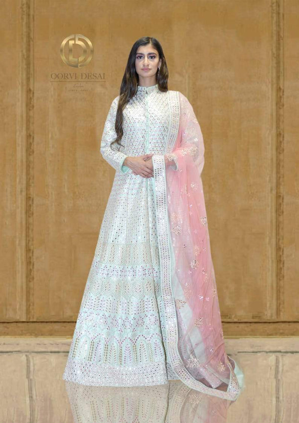 Pastel Green Mirror and Reshamwork Jacket Length with Dupatta by Oorvi Desai