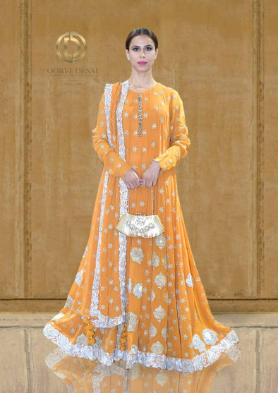 Bright Orange Ghungroo Anarkali Set with Dupatta